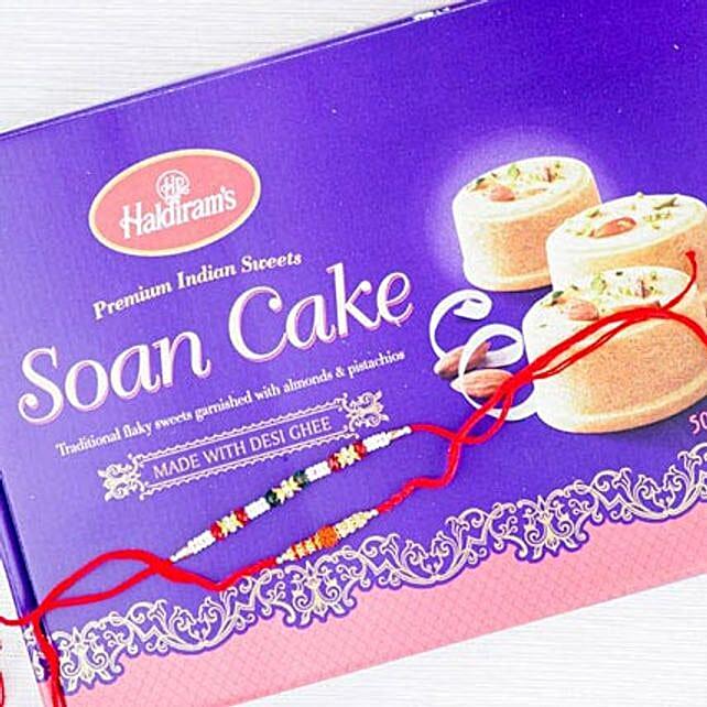Two Rakhi With Flaky Soan Cake