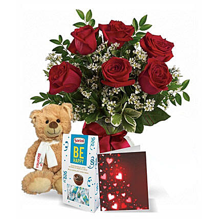 6 Red Roses Combo