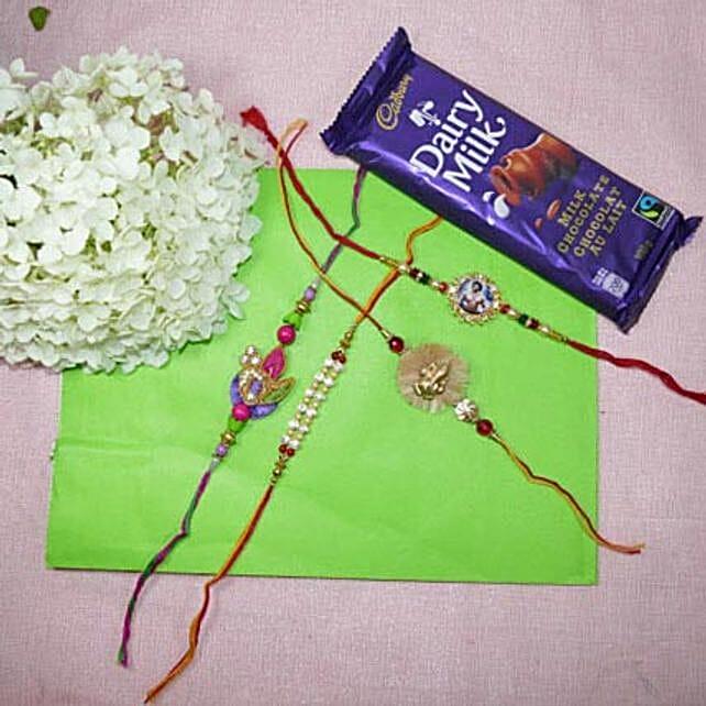 Beads Rakhi Set Of Four With Dairy Milk