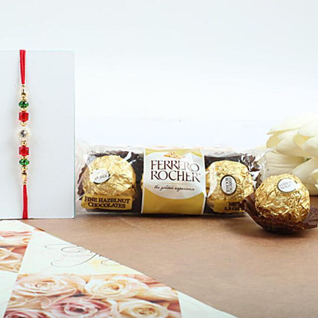 Beads Rakhi with Ferrero Rocher