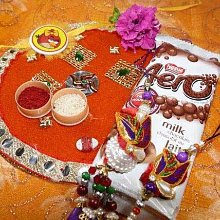 Colorful Rakhi Set of Two Thali With Aero