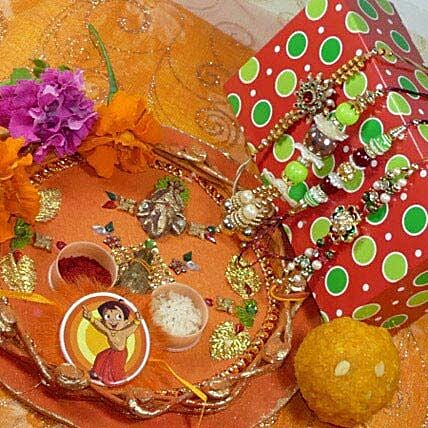 Family Rakhi Set Of Four Thali With Boondi Laddu