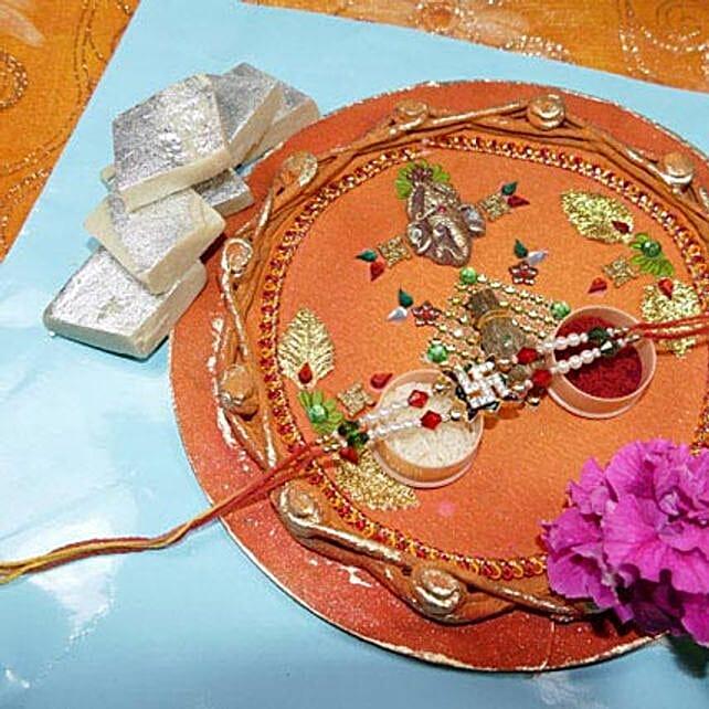 Fancy Rakhi Thali With Kaju Katli