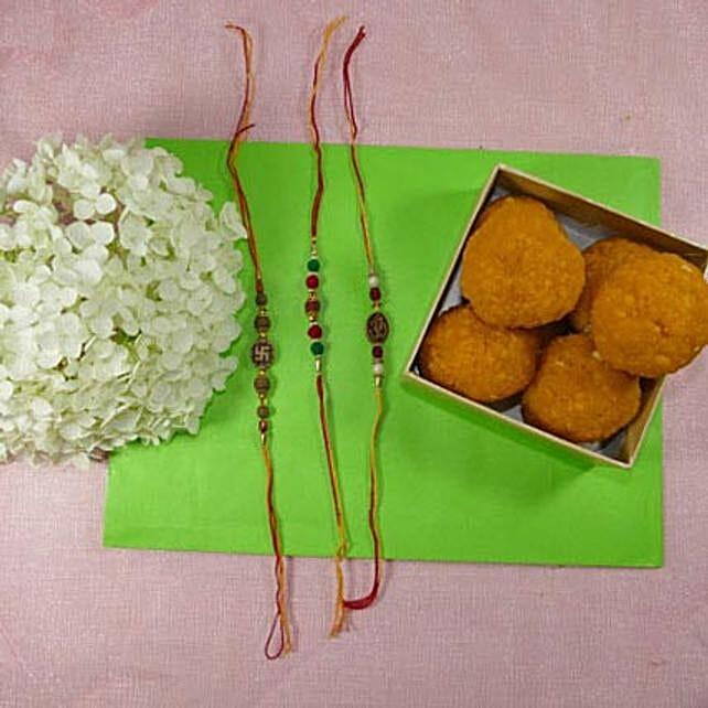Fancy Rakhis Set of Three With Boondi Laddu