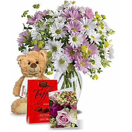 Flowers With Chocolate N Teddy