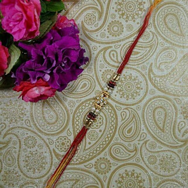 Golden Bead Flower Rakhi