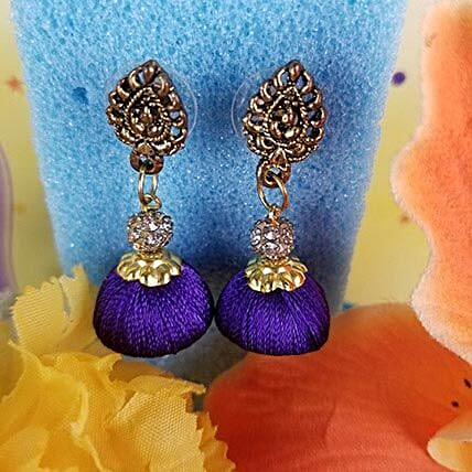 Gorgeous Thread Earrings Blue