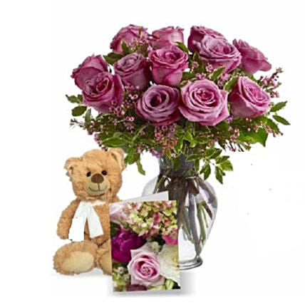 Lavender Roses with Teddy