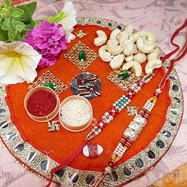 Pearl Rakhi Set Of Two Thali With Cashew