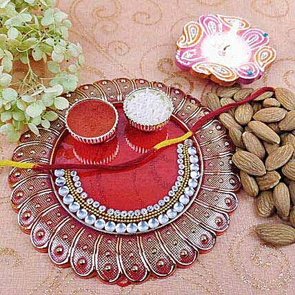 Red Acrylic Round Thali Of Goodness