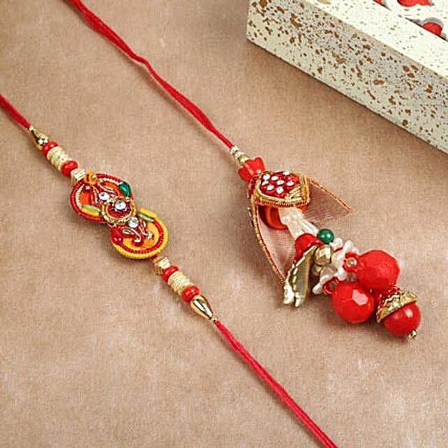 Red Lumba Rakhi Combo