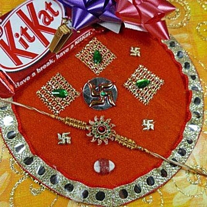 Stunning Rakhi Thali With Kit Kat
