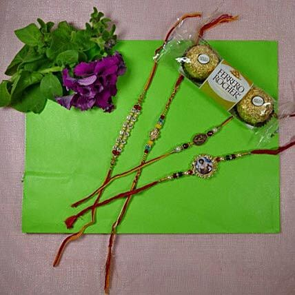 Traditional Rakhi Set Of Four With Rocher Ferrore