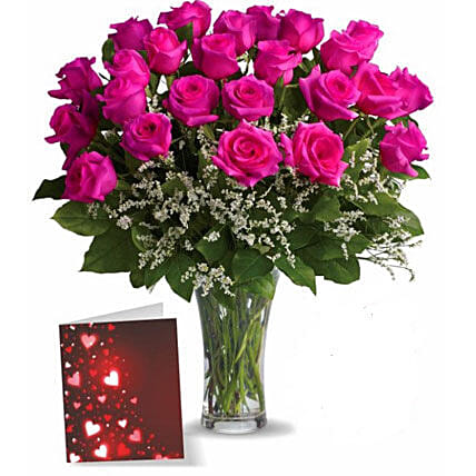 Two Dozen Pink Roses With Card