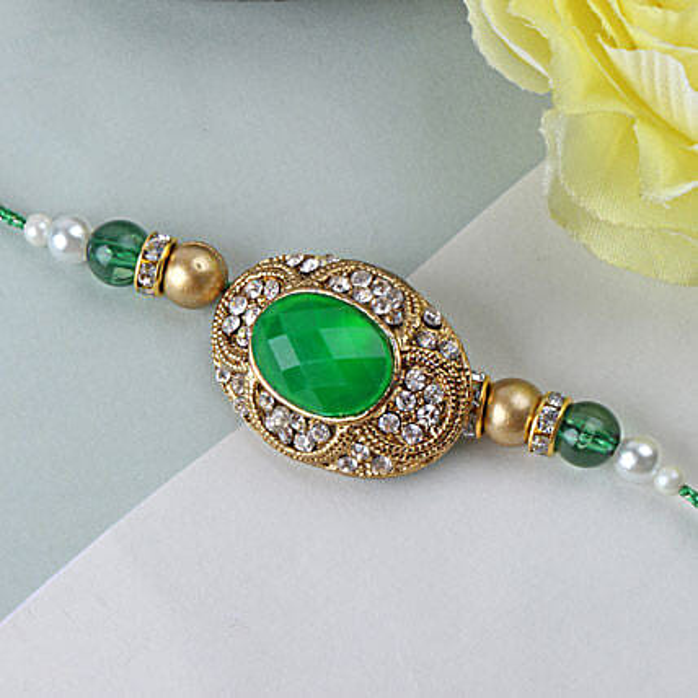 Green Emerald Stone Rakhi FIN