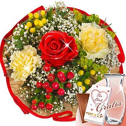 Flower Bouquet Tango With Vase and Merci