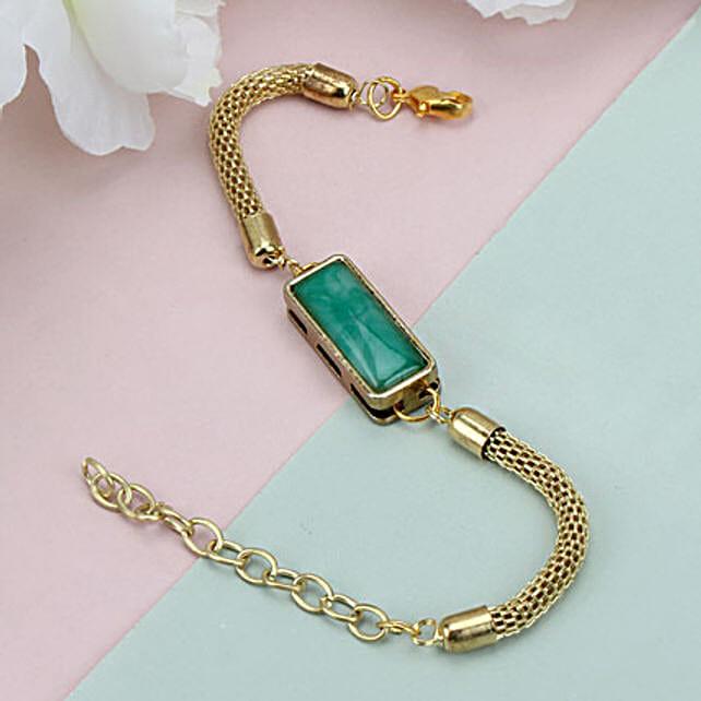 Premium Green Stone Rakhi GL