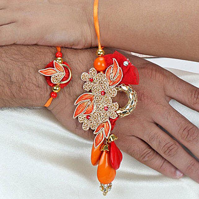 Zardosi with beads Lumba Rakhi Set ITA