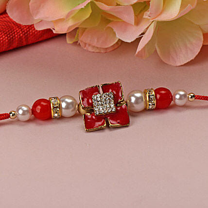 Red Stone with Pearl Rakhi KOR