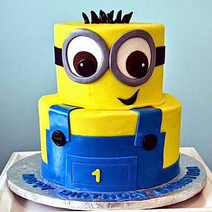 2 Tier Minion Cake 4kg Gift Minion 3d Cartoon Cake for 1st