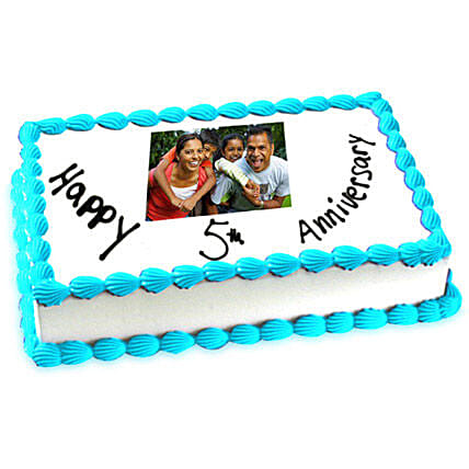 5th Anniversary Photo Cake Eggless 1kg by FNP