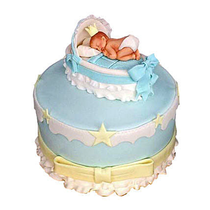 Baby In The Crib Fondant Cake 3kg Chocolate Eggless