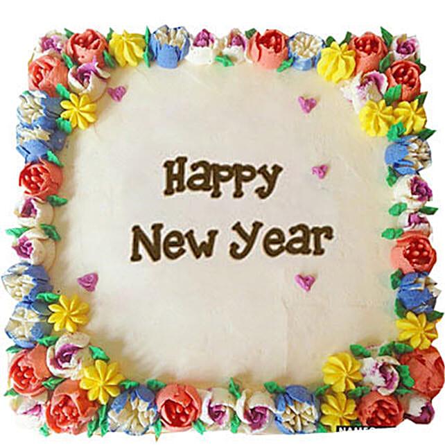 Beautiful Happy New Year Cream Cakes Half kg Eggless