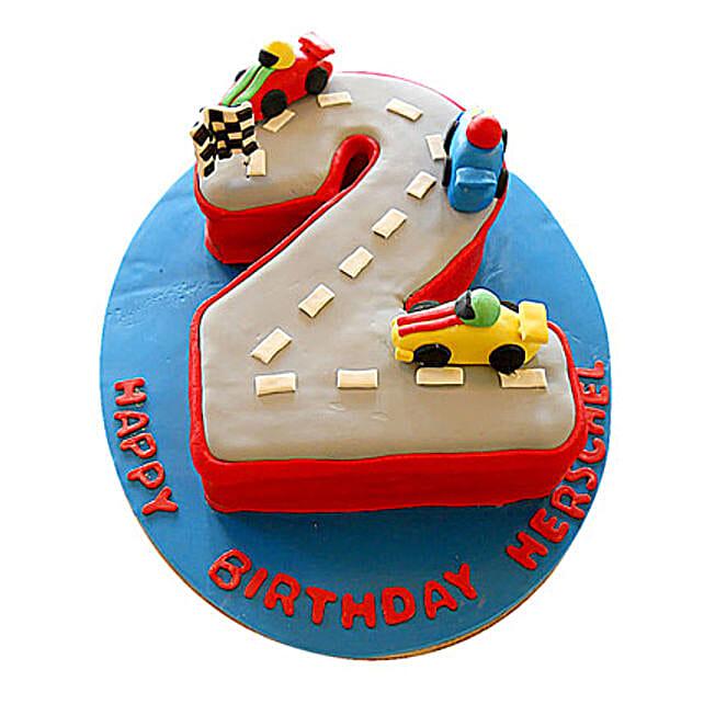 Car Race Birthday Cake 4kg Eggless Pineapple