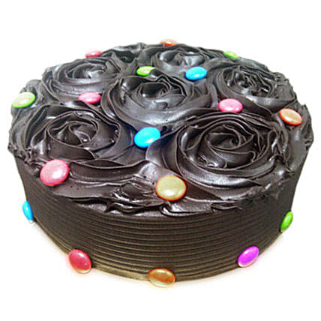 Chocolate Flower Cake 1kg Eggless