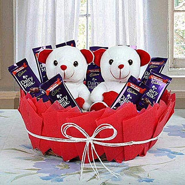 Cute Basket Of Surprise Gift Cadbury Chocolate Basket
