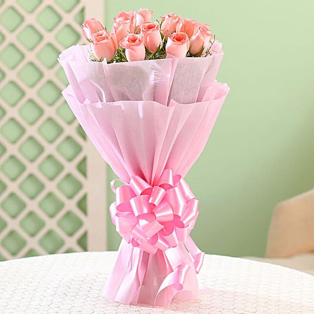 Elegance -12 Pink Roses Bouquet