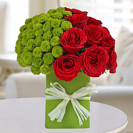 Red Roses N Green button Mum Arrangement