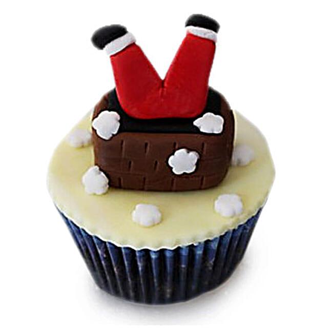 Falling Santa Cupcakes 6 Eggless
