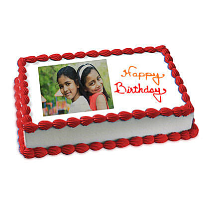 Happy Birthday Photo Cake 3kg Eggless Vanilla