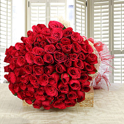 Love and Love - 75 Red Roses in jute packing