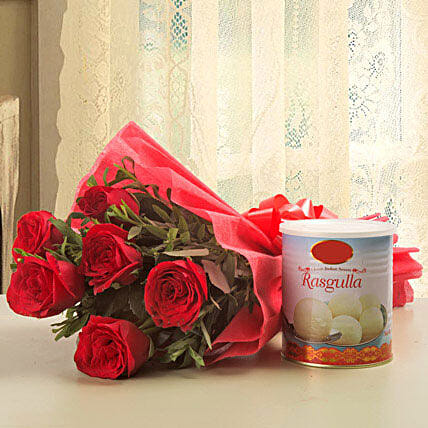 Lucky n love gift lucky n love bunch of 6 red roses with lucky n love negle Images