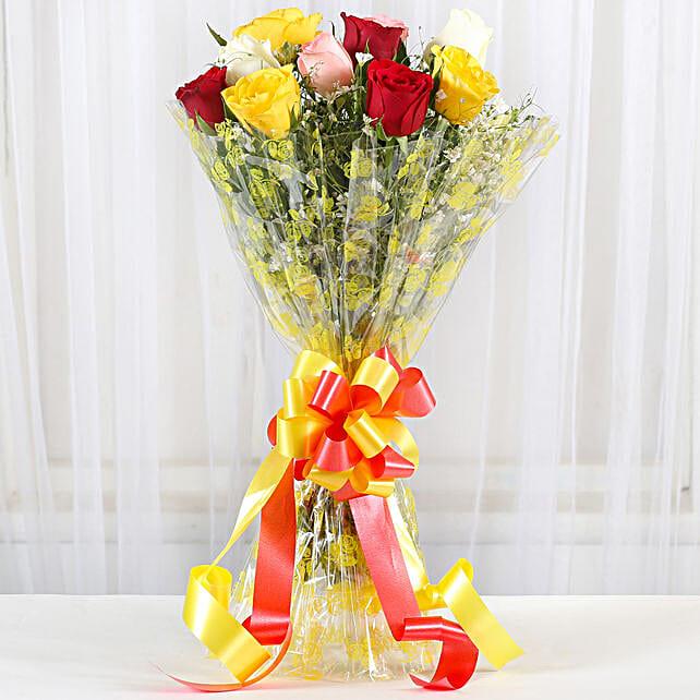 Magical Multicolored Roses Bouquet