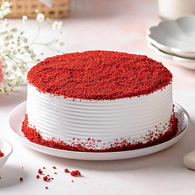 Red Velvet Fresh Cream Cake Half Kg Eggless Gift Red