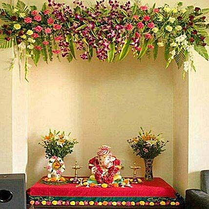 Scintillating Floral Ganpati Decoration Gift