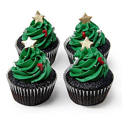 Special Christmas Tree Cupcakes 24 Eggless