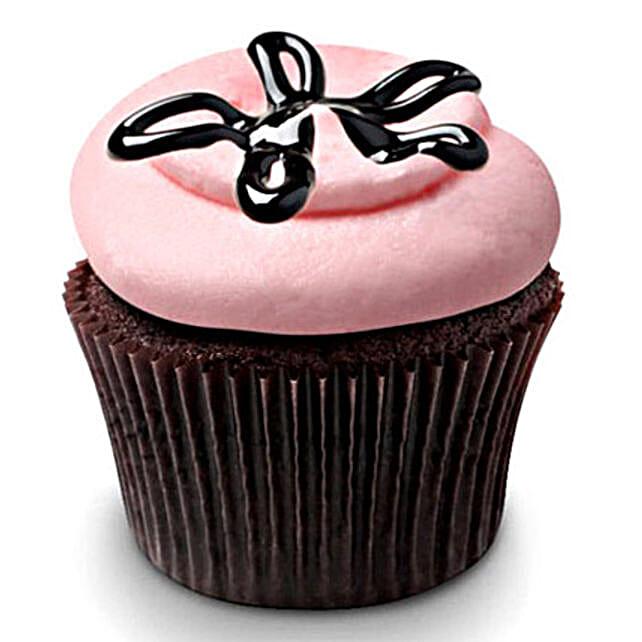 Strawberry Lava Fudge Cupcakes 12 Eggless