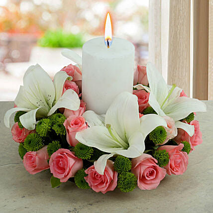 White Lily N Pink Roses Arrangement