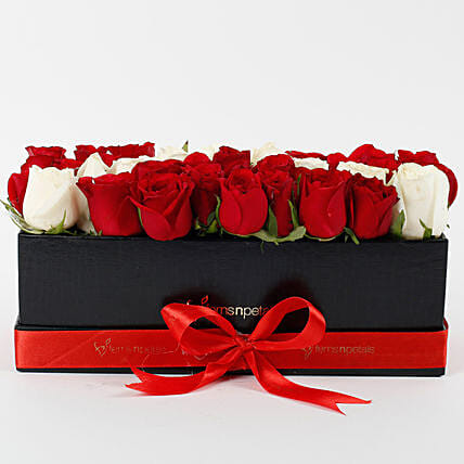 Red & White Roses in Black Box