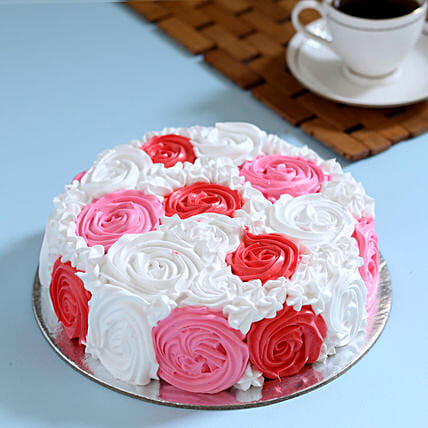 Yummy Colourful Rose Cake Half Kg Eggless Vanilla
