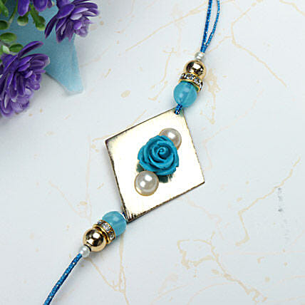 Blue Rose with Pearl Rakhi NZ