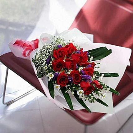 12 red roses in Long Wrapping