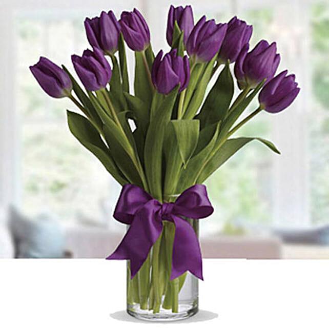 30 Purple Tulip Arrangement