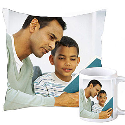 Cuddly personalized cushion and coffee mug