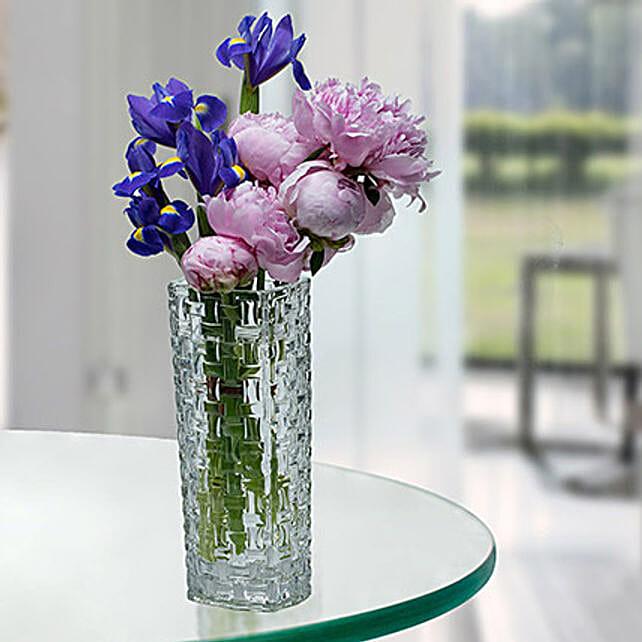Desirable Peonies N Iris Flower Arrangement