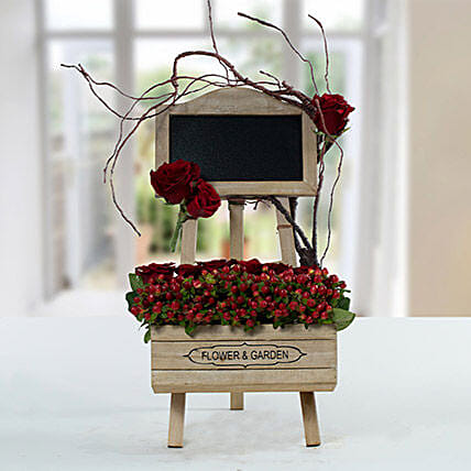 Enchanting Rose N Hypericum Arrangement With Message Board